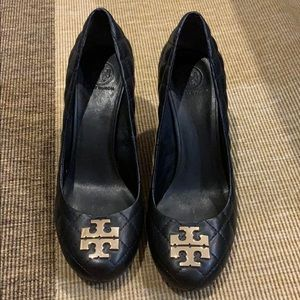 Tory Burch black wedges. Worn once.